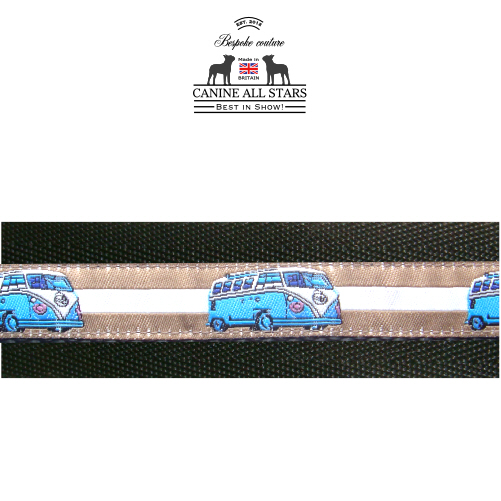 7504818d52 MARTINGALE DOG COLLAR - RETRO VW CAMPER VAN BLUE ON TAN AND WHITE STRIPES